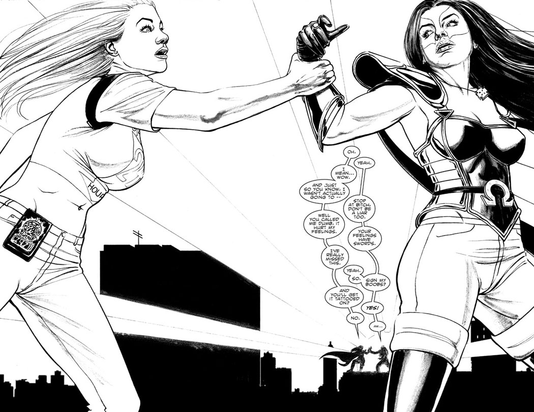 Issue 4, Pages 4+5 - I Can't Let You Go. Or: Sign My Boobs!